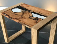 English Yew Side Table with Clear Epoxy River Thumbnail